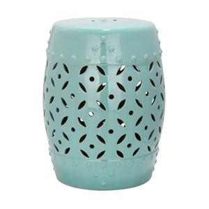 Tyrkysový keramický stolík vhodný do exteriéru Safavieh Lattice Coin Blue