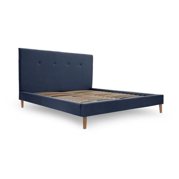 Modrá posteľ s prírodnými nohami Vivonita Kent, 180×200cm