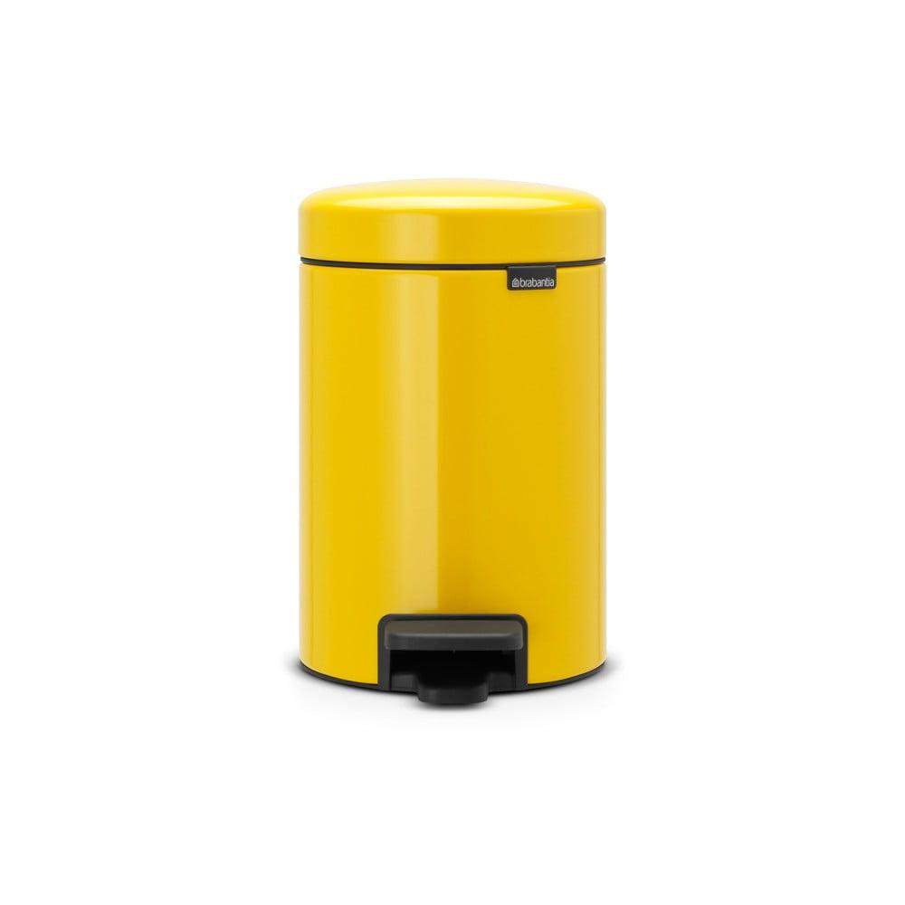 Žltý pedálový odpadkový kôš Brabantia Newicon, 3 l