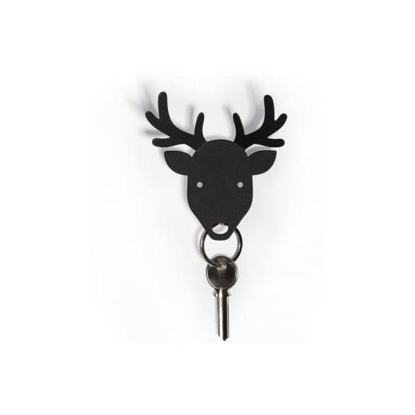Vešiačik na kľúče QUALY Deer Key Holder, čierny