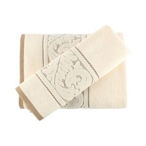 Set krémového bavlneného uteráka a osušky Sultan Cream