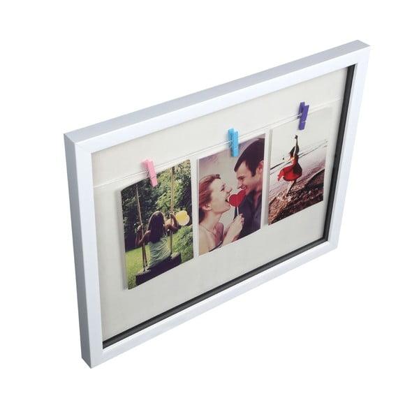 Fotorámik s 3 štipcami Premier Housewares White Peg