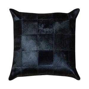 Čierny kožený vankúš Pipsa Pennio, 50×50 cm