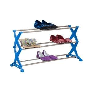 Modrá skladacia skrinka na topánky Bonita, 3 police