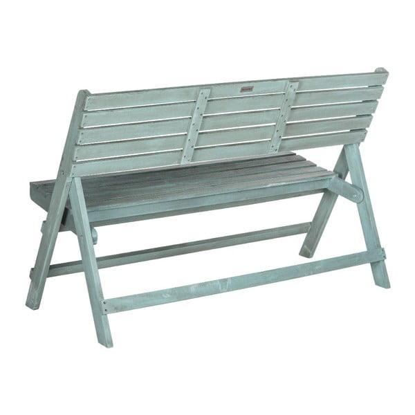Modrá vonkajšia rozkladacia drevená lavica Safavieh Ferrat