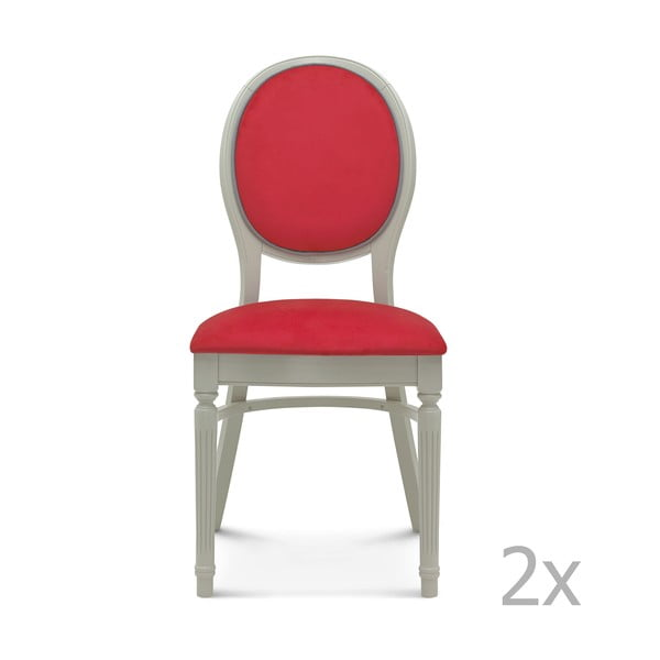 Sada 2 červených drevených stoličiek Fameg Lise