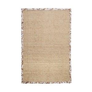 Konopný koberec s koženým lemom Brazilia Natural, 120x180 cm