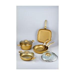 Set 5 panvíc  a hrnca Bisetti Stonegold Gold Handles