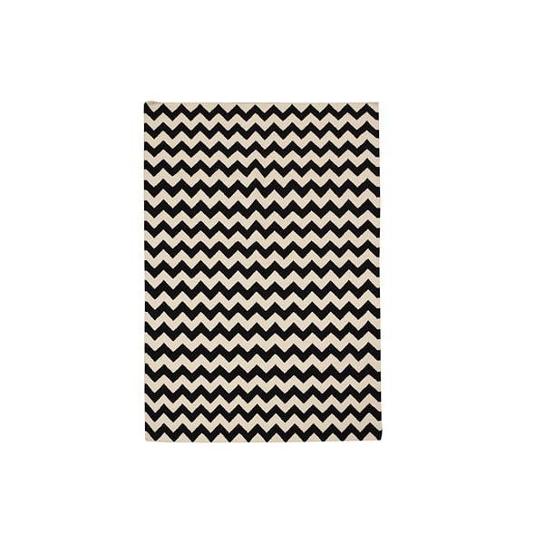 Ručne tkaný koberec Zig Zag Black, 120x180 cm