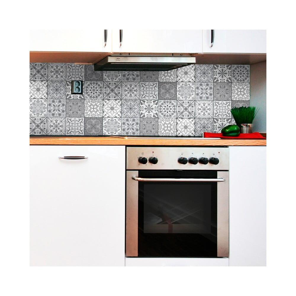 Sada 12 nástenných samolepiek Ambiance Wall Decal Tiles Grey and White Torino, 15 × 15 cm