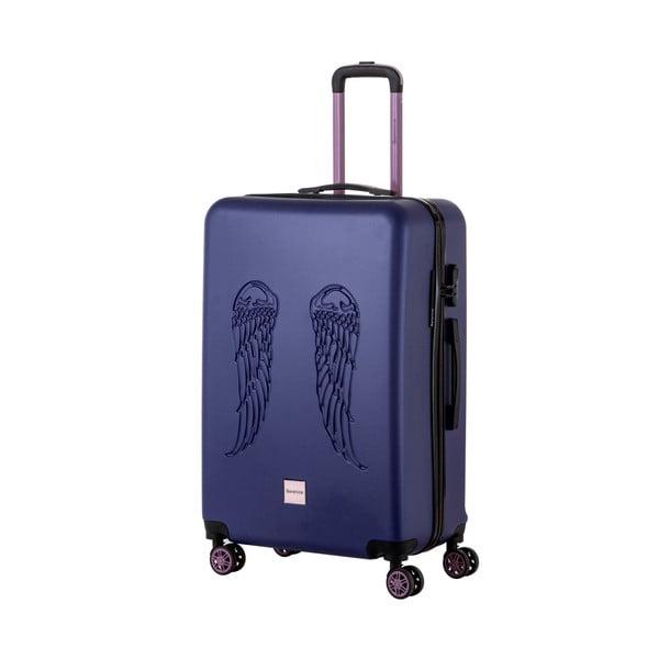 Modrý cestovný kufor Berenice Wingy, 107 l