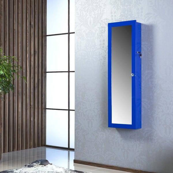 Uzamykateľné závesné zrkadlo so šperkovnicou Nadia, modré