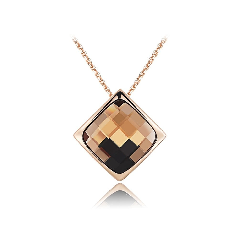 Hnedý náhrdelník s krištáľmi Swarovski Elements Crystlas a ružovým zlatom Diana