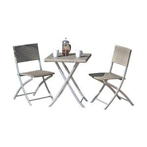 Set 2 sivých záhradných stoličiek a stola ADDU Norfolk