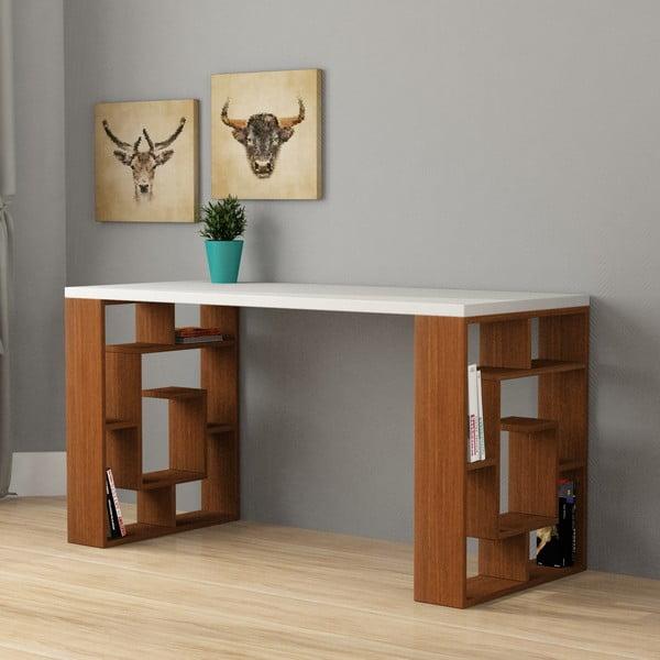 Pracovný stôl Labyrint, biela/orech