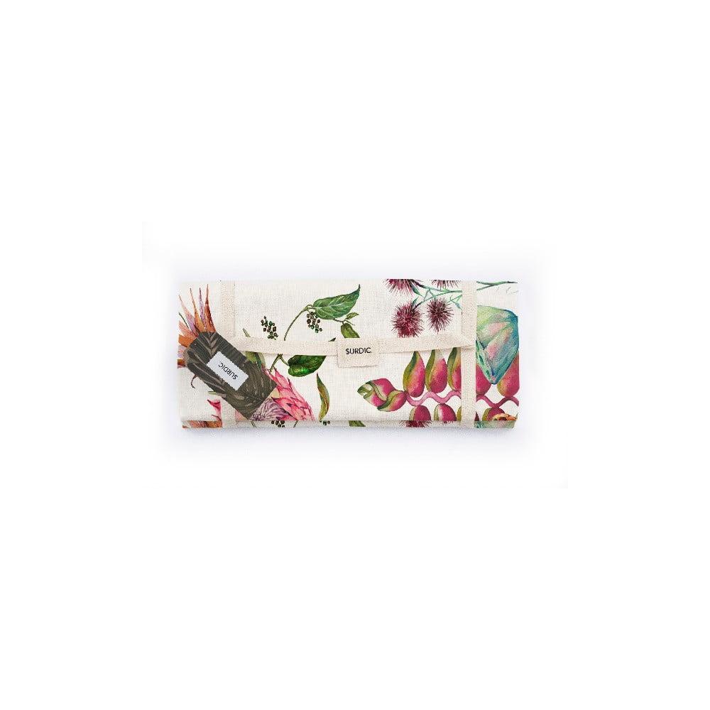 Piknik deka Surdic Manta Picnic White Flores Salvajes s motívom kvetov, 140 x 170 cm