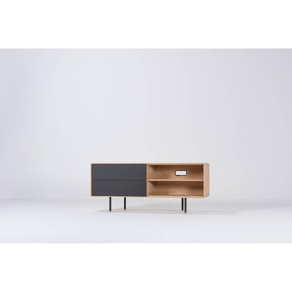 Čierny TV stolík z dubového dreva Gazzda Nero, šírka 150 cm