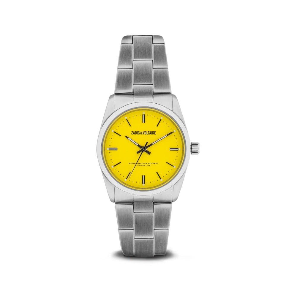 Dámske hodinky striebornej farby so žltým ciferníkom Zadig   Voltaire 5e163a95f0e
