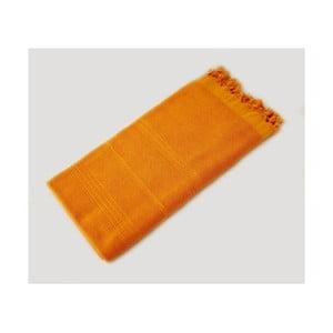 Žltá ručne tkaná osuška z prémiovej bavlny Homemania Turkish Hammam, 90×180cm
