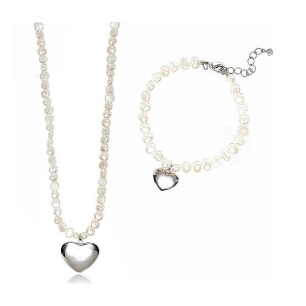 Sada náhrdelníka a náramku z riečnych perál GemSeller Pumila