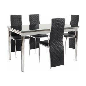 Set jedálenského stola a 4 čiernych jedálenských stoličiek Støraa Pippa William Grey Black