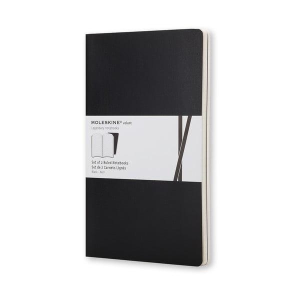 Sada 2 čiernych zápisníkov Moleskine Volant 7x11cm, linajkové