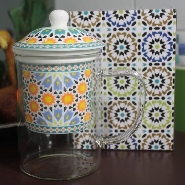 Sklenený hrnček so sitkom Maroko B, 450 ml