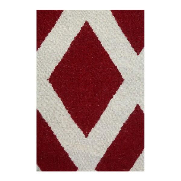 Vlnený koberec Geometry Cross Red & White, 160x230 cm