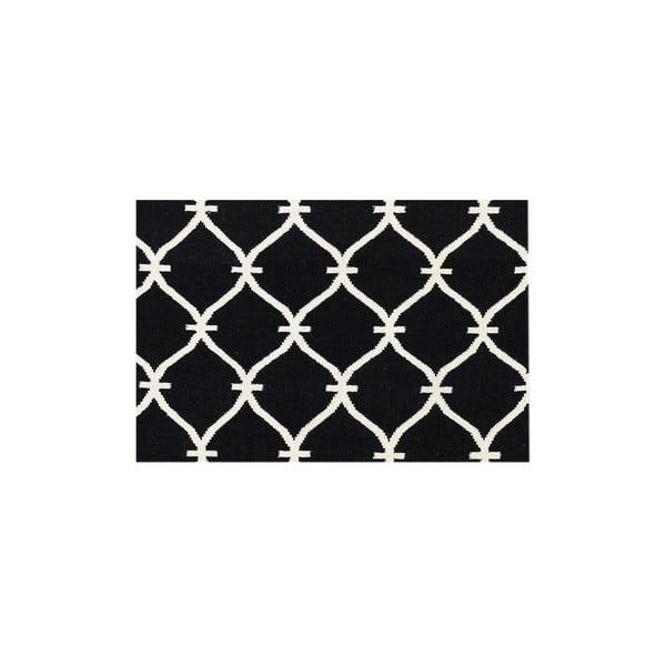 Vlnený koberec Kilim Belinda Black, 155x240 cm