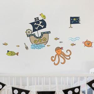 Nástenné detské samolepky Ambiance Pirates and Octopus Ship
