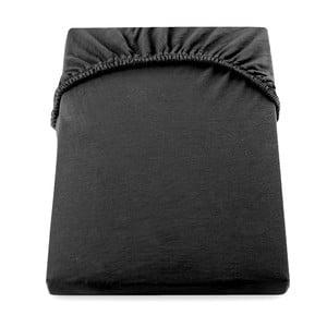 Čierna elastická bavlnená plachta DecoKing Amber Collection, 220-240×200cm