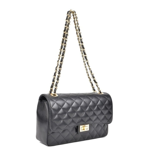 Čierna kožená kabelka Isabella Rhea Swift