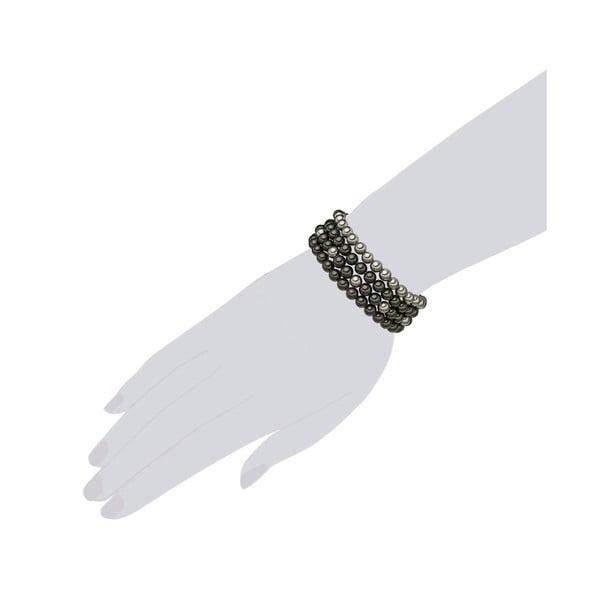 Štvorradový perlový náramok Beria, dĺžka 21 cm, tmavozelené perly
