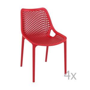 Sada 4 červených záhradných stoličiek Resol Grid Simple