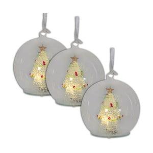 Sada 3 vianočných sklenených gulí s LED svetlami Naeve, Ø 13 cm
