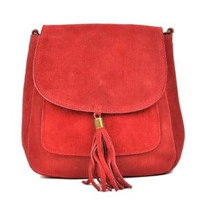 Červená kožená kabelka Anna Luchini Ben