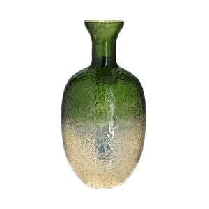Zeleno-zlatá sklenená váza InArt Crackles, výška 30 cm