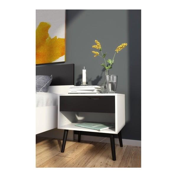 Nočný stolík s čiernymi detailmi Evergreen House Delta