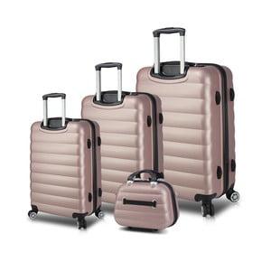 Sada 3 ružových cestovných kufrov na kolieskach s USB porty a príručného kufríka My Valice RESSO Travel Set