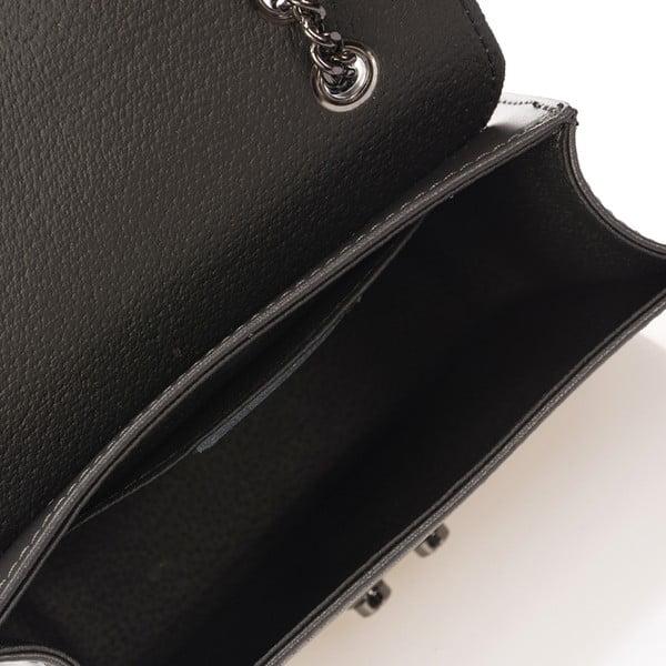 Sivá kožená kabelka se stříbrným řetízkem Giulia Massari