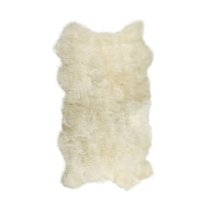 Biely kožušinový koberec Lungo, 100 x 200 cm