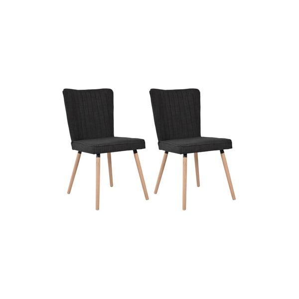 Sada 2 jedálenských stoličiek Nils, čierny poťah/dubové nohy