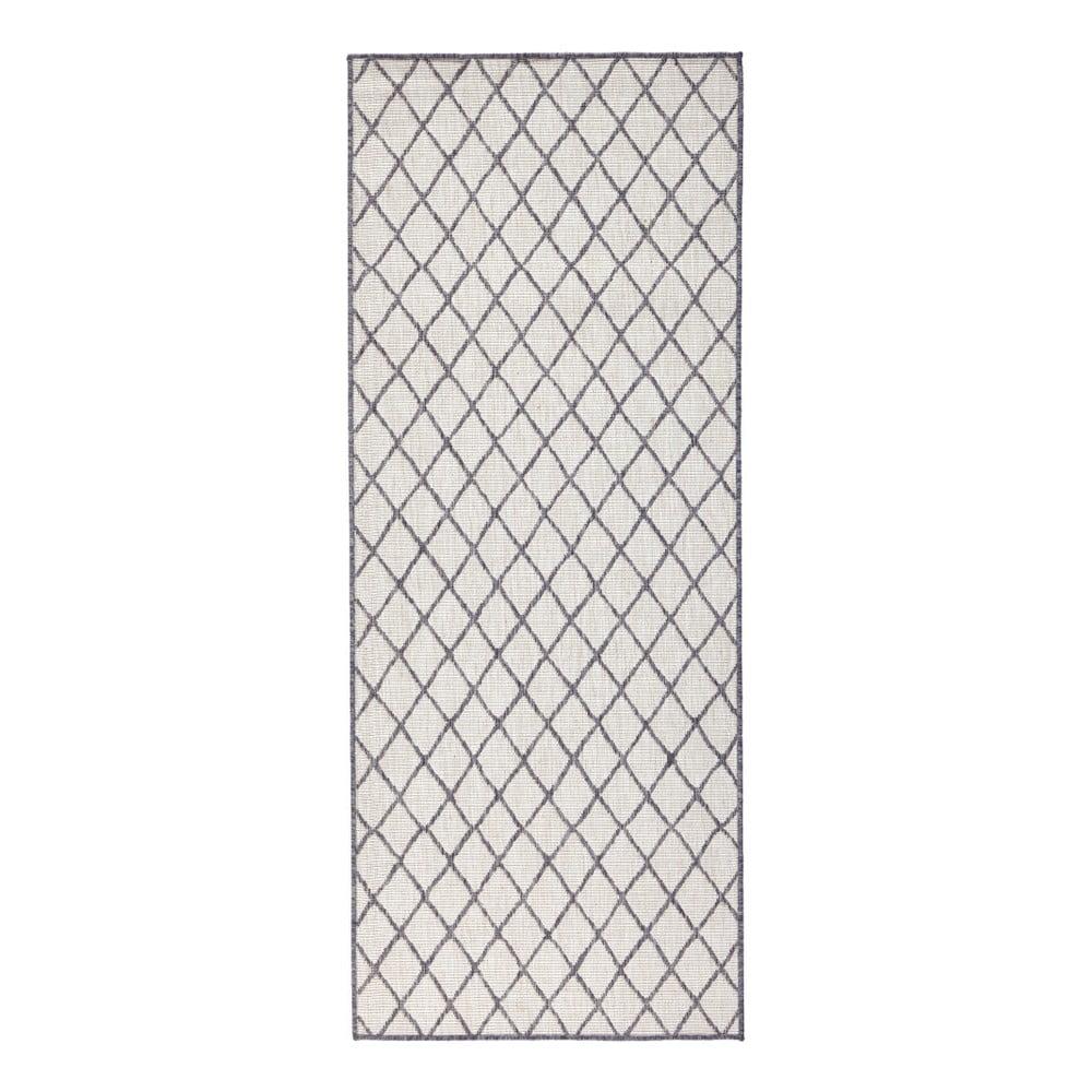 Sivo-krémový vonkajší koberec Bougari Malaga, 80 x 350 cm