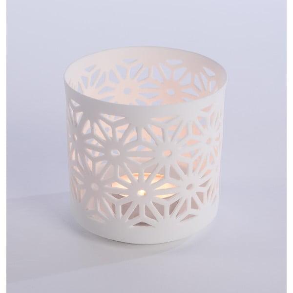 Porcelánový Svietnik Flowers 9x9 cm, biely