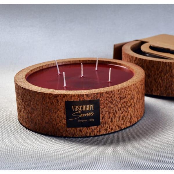 Palmová sviečka Legno Round s vôňou exotického ovocia, 80 hodín horenia