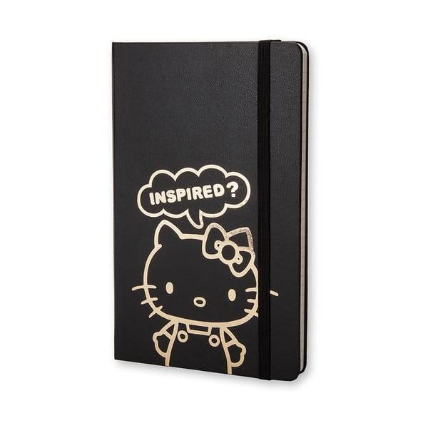 Malý čierny zápisník Moleskine Hello Kitty, linajkový