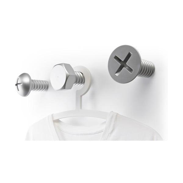 Strieborné nástenné vešiaky Qualy  Screw Collection