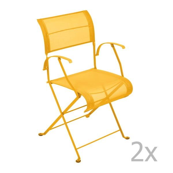 Sada 2 žltých skladacích stoličiek s opierkami na ruky Fermob Dune