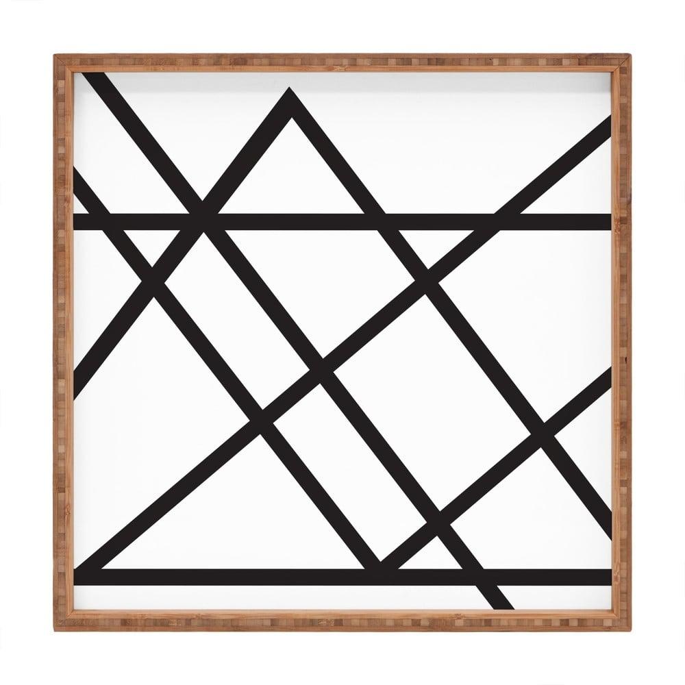 Drevený dekoratívny servírovací podnos Lines, 40 × 40 cm
