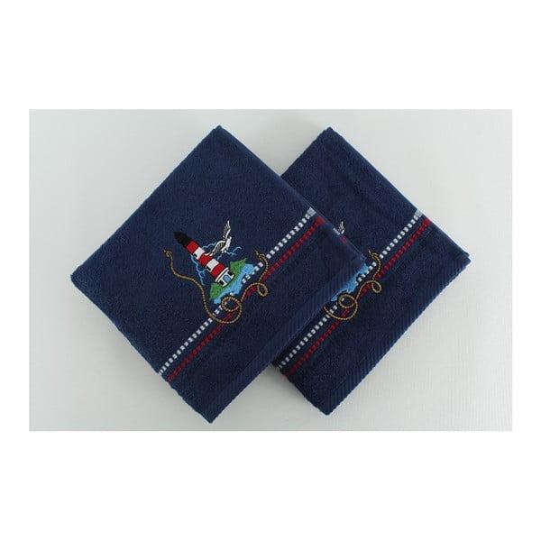 Sada 2 osušiek Marina Dark Blue Denis, 50x90 cm
